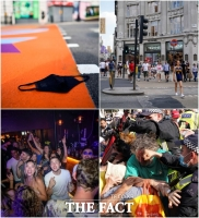 '마스크 벗고 클럽' 영국, 델타 변이 확산에 '때 이른 자유'[TF사진관]