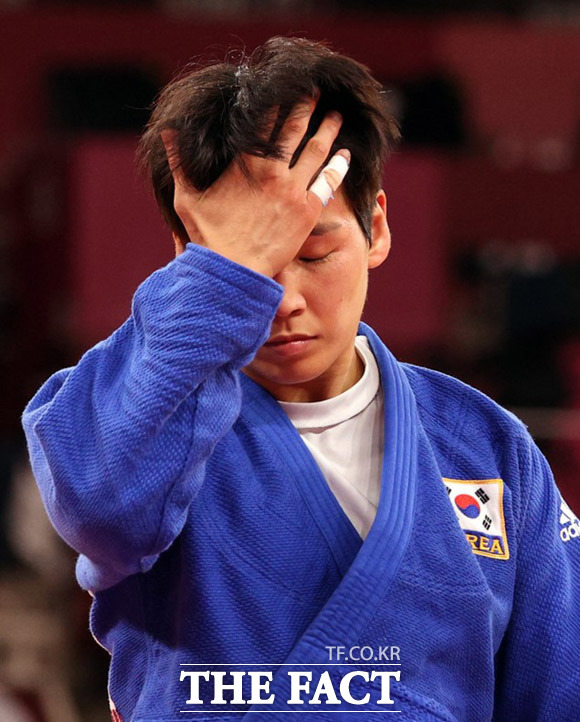 윤현지는 여자 78㎏급 동메달 결정전에서 패하며 아쉽게 메달 획득에 실패했다. /도쿄=뉴시스